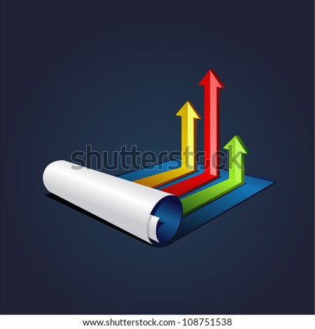vector illustration roll of blue paper with colorful graph or diagram with arrows - stock vector