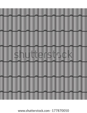 vector illustration roof grey tile seamless background - stock vector