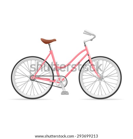 Vector illustration Rose Stylish Womens Bicycle isolated on a white background.