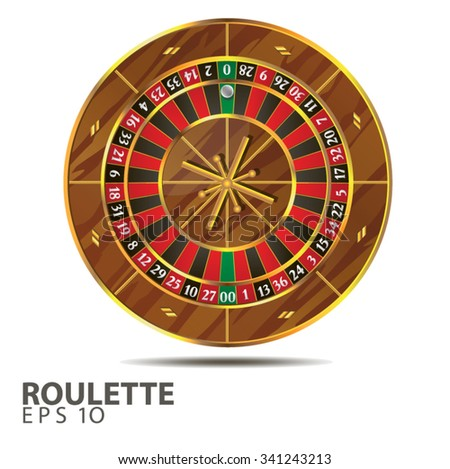 Vector illustration roulette wheel isolated on white background