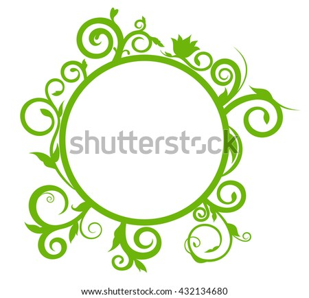 Vector illustration Round banner with spring prints. Banner with floral ornament.