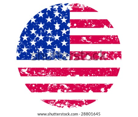 Vector illustration - Round flag of USA in retro style - stock vector