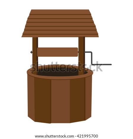 Vector illustration rural water well. Wooden well with roof. Wishing well. Well icon - stock vector