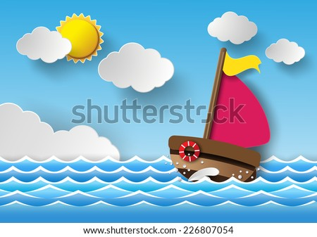 Vector illustration sailing boat and cloud with rainbow. paper art style.