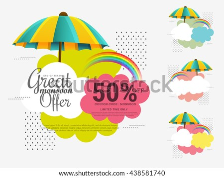 Vector illustration,sale banner,sale poster for Monsoon season raining drops,colorful umbrella with text space background. - stock vector