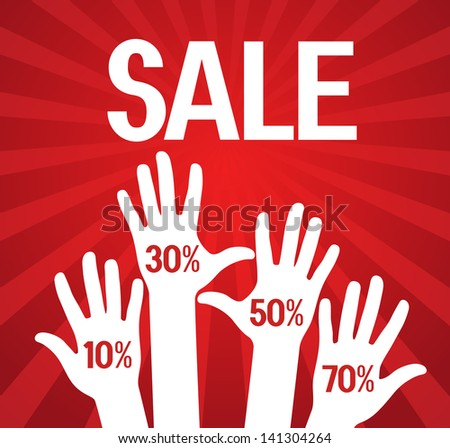vector illustration. Sale poster with a percentage discount on the background of human hands - stock vector