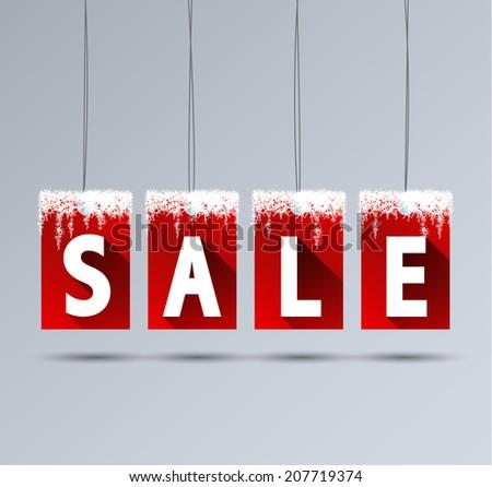 Vector illustration sale tags for winter season - stock vector