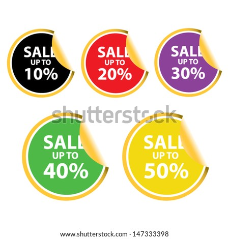 Vector illustration.Sale tags with Sale up to 10 - 50 percent text on circle tags and stickers.  - stock vector