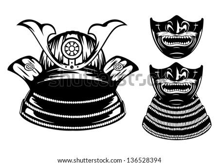 Vector illustration samurai helmet, menpo with yodare-kake - stock vector