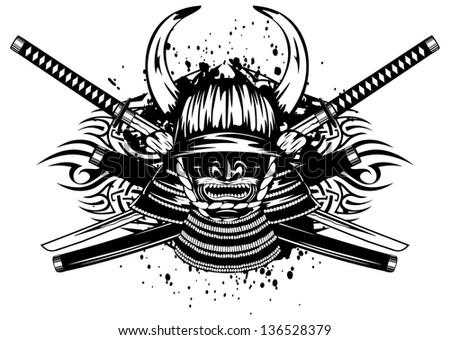 vector illustration samurai helmet horns menpo stock vector 136528379 shutterstock. Black Bedroom Furniture Sets. Home Design Ideas