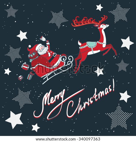 Vector illustration Santa Claus in sleigh with reindeer.