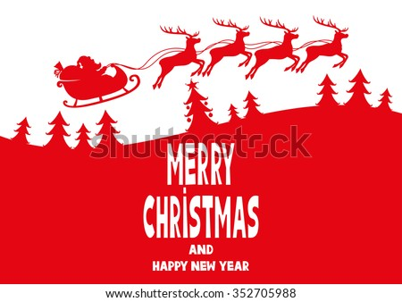 Vector illustration. Santa wishes Merry Christmas and Happy New Year. - stock vector