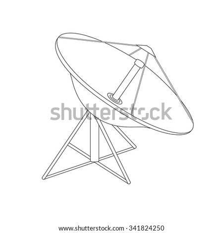 Vector illustration satellite dish antenna outline drawing. Radar flat con. - stock vector