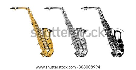 Vector Illustration saxophone isolated object on a white background, three kinds of golden, saxophone in shades of gray and a saxophone in a black contour. Illustration for mounting any illustrations - stock vector