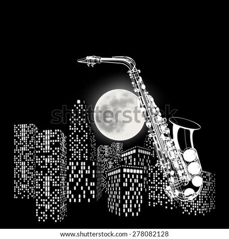 vector illustration saxophone on a background of the moon and city
