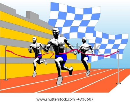 Vector illustration scene athlete on finish