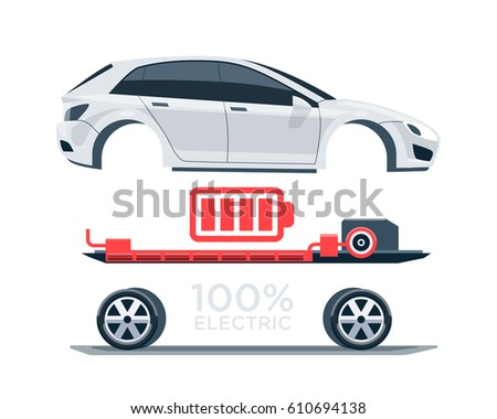 Electric Cars Charging Charger Station Front Stock Vector
