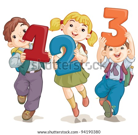 Vector illustration, school kids with figures, card concept, white background. - stock vector