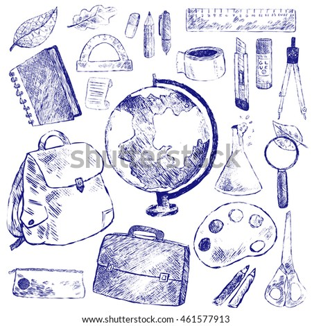 Vector illustration school stationery. Blue and white set. Globe, backpack, briefcase, pencil, pen, ruler, protractor, notebook, magnifying glass, flask, compass, scissors, eraser, box, cutter, glue.