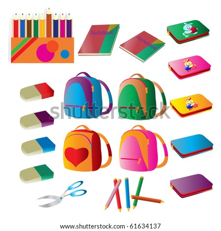 Vector illustration, school supplies, white background. - stock vector