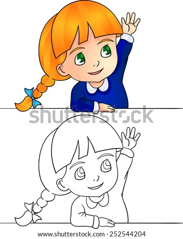 Vector illustration schoolgirl rising hand answers at lesson - stock vector