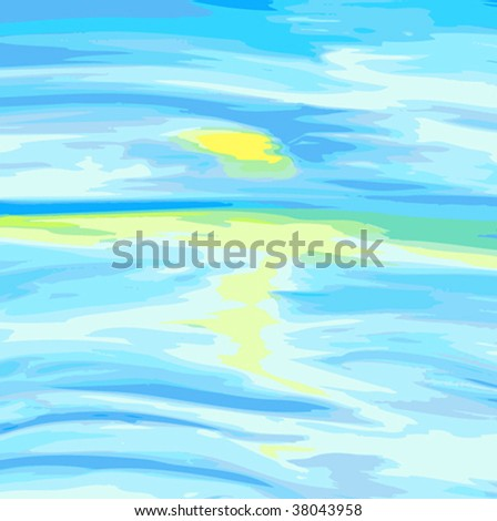 Vector illustration - sea and sky. - stock vector