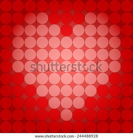 Vector illustration: seamless background love symbol heart made of red and white circles