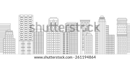 Vector illustration Seamless border of line skyscrapers. Black and white - stock vector
