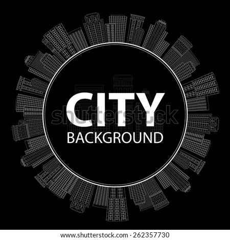 Vector illustration Seamless circular frame of line skyscrapers. Black and white - stock vector