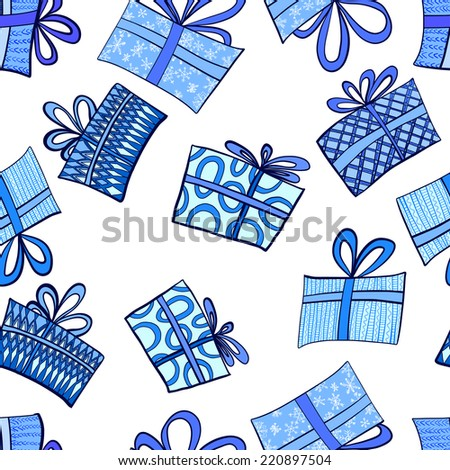 Vector illustration. Seamless pattern of Christmas gifts