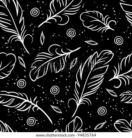 Vector illustration. Seamless pattern of feathers.