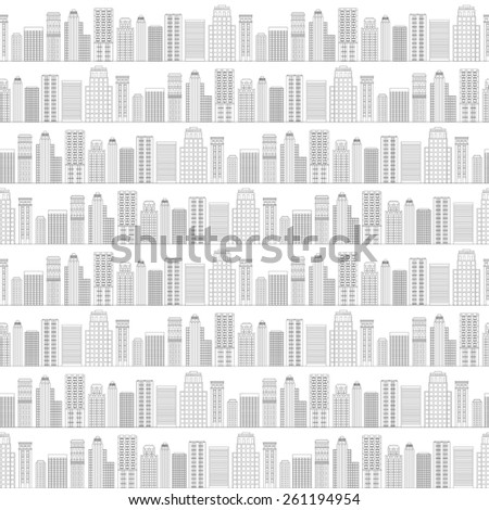 Vector illustration Seamless pattern of line skyscrapers. Black and white - stock vector