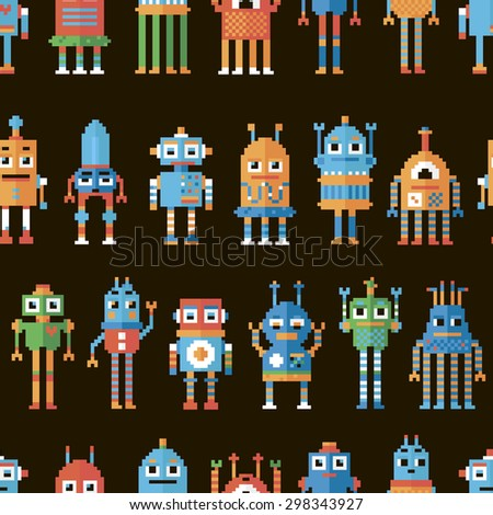 Vector illustration. Seamless pattern with pixel robots.