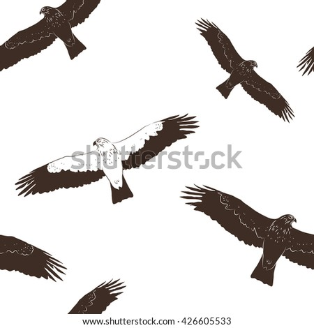 Vector illustration: Seamless pattern with silhouettes of  Booted Eagle in fly