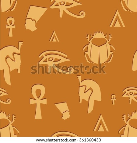 Vector illustration seamless pattern with symbols of Egypt - stock vector