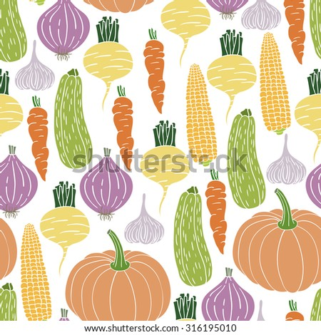 Vector illustration. Seamless pattern with vegetables. Perfect for a kitchen design, wallpaper, texture surfaces. - stock vector