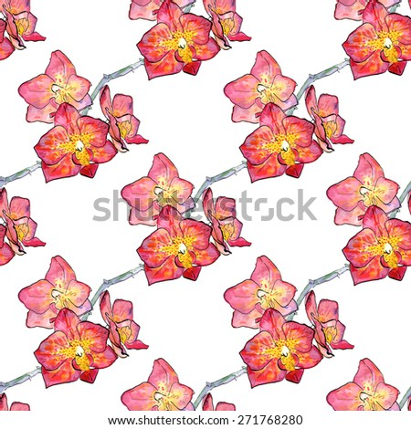 Vector illustration. Seamless pattern with watercolor hand drawn orchid with ink outline. Tender elegant pink orchid for your summer and spring design. Perfect for wedding. - stock vector