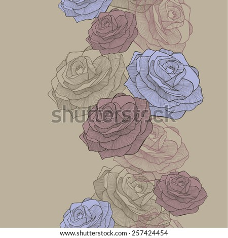 Vector illustration. Seamless wallpaper with blue and pink roses, hand-drawing. - stock vector