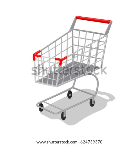 Vector illustration self-service supermarket shopping trolley cart with red handle.