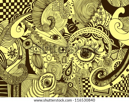 Vector illustration, sepia drawing, abstract eyes, card concept. - stock vector