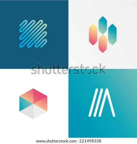 Vector illustration server hosting tech set - stock vector