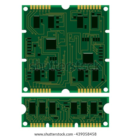 Vector illustration set electric circuit board, various IC chips and electronic components. Green RAM memory chip on white background. Circuit board different isolated - stock vector
