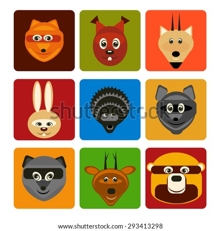 vector illustration set forest animals flat silhouettes on square background in color for design, web, infographic - stock vector