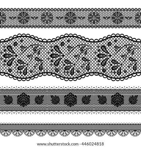 vector illustration set four openwork lace ribbons thin and wide