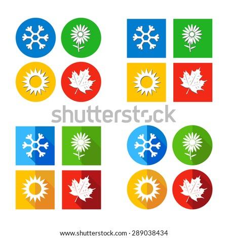 vector illustration Set four seasons symbol Weather on different background for print calendar, web design - stock vector