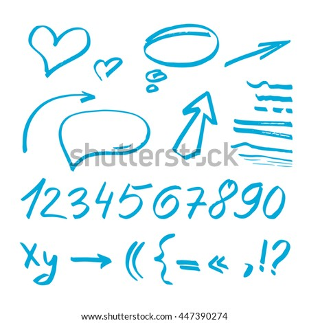 Vector illustration. Set hand-drawn elements. Arrows, stickers, numbers. - stock vector