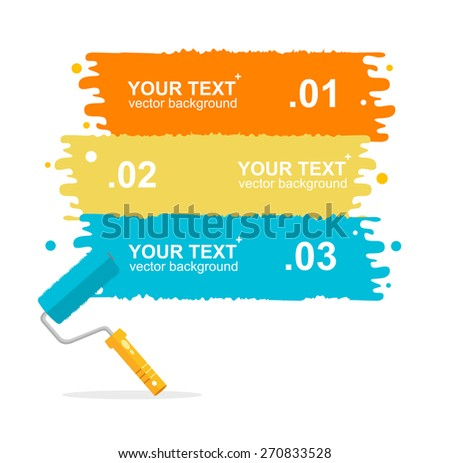 Vector illustration set horizontal, colorful roller brushes background for text isolated - stock vector
