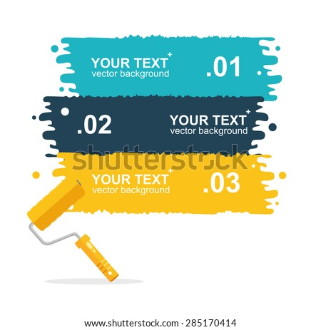 Vector illustration set horizontal, colorful roller brushes background for text isolated. options banner - stock vector