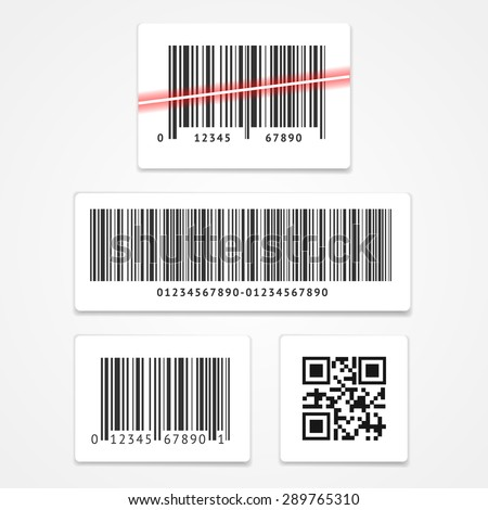 Vector illustration set label barcode and qr code isolated on a white background  - stock vector