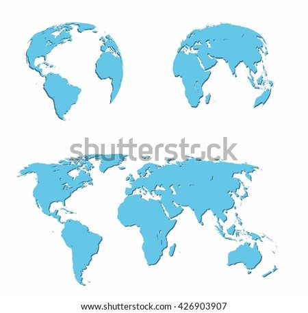 vector illustration set - map of the world, the two hemispheres